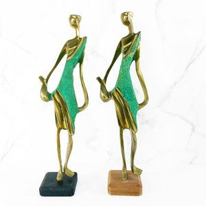 Vintage Brass Abstract Figural Female Statues